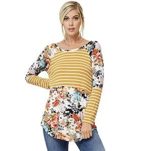a.gain Long Sleeve Striped/Floral Color Block Top